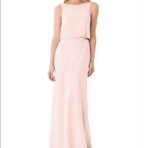 Bari Jay Pink Illusion Neckline Bridesmaid dress